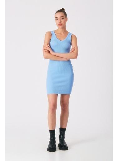 Robin Kalın Askılı Triko Elbise Mavi Mavi